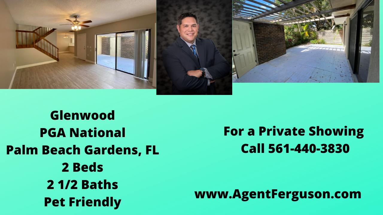 For Lease 1850 Mo 2 Bedroom Townhouse In Glenwood Pga National Palmbeachgardens Florida Agentferguson Realestate In 2020 Palm Beach Gardens Palm Beach Glenwood