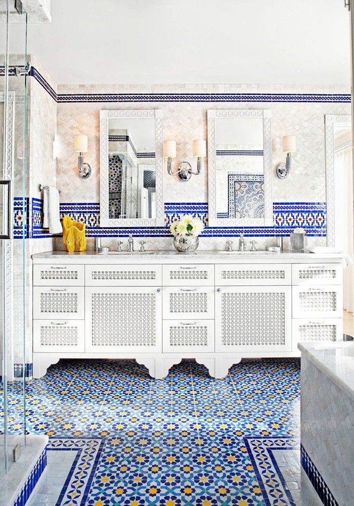 marokkanische fliesen zementfliesen interirdesign ideen wohnung ... - Deko Blau Interieur Idee Wohnung