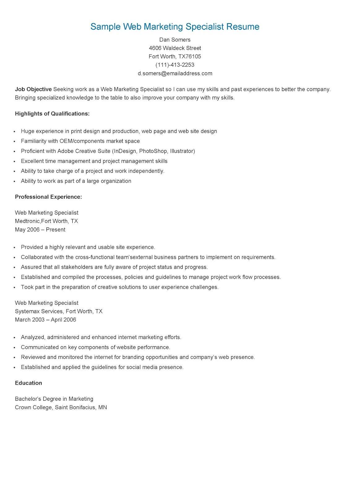 Sample Web Marketing Specialist Resume Resume, Sample
