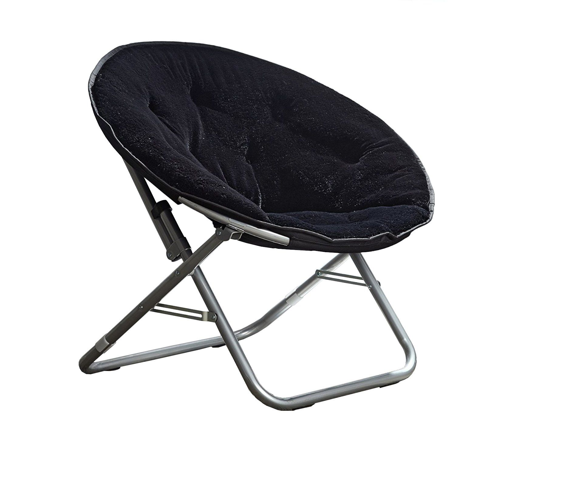 Folding Lounge Chair Fabric Metal Saucer Chair Indoor