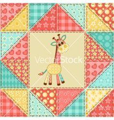 Giraffe quilt pattern vector - by nad_o on VectorStock® | Quilts ... : giraffe baby quilt pattern - Adamdwight.com