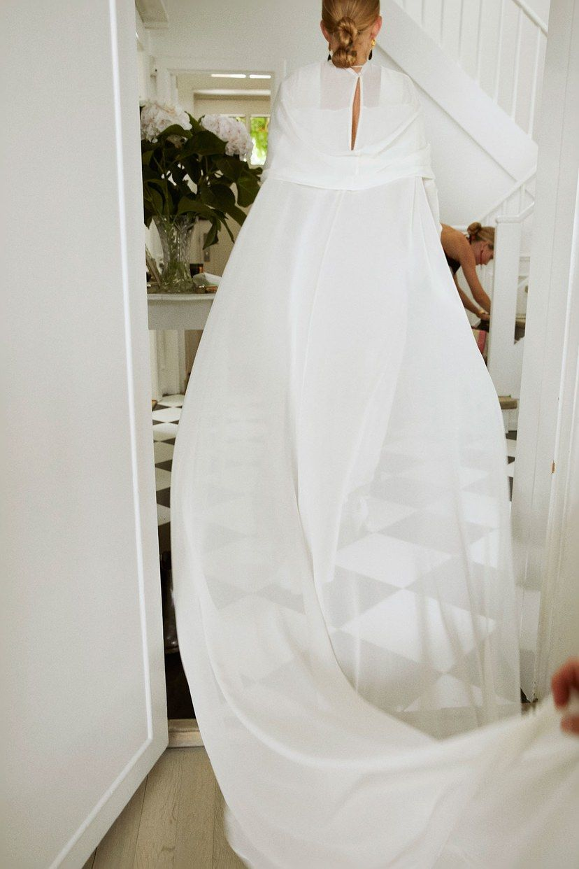 Photo of Stylist Alex Carl Swapped A Veil For A Cape At Her Copenhagen Wedding