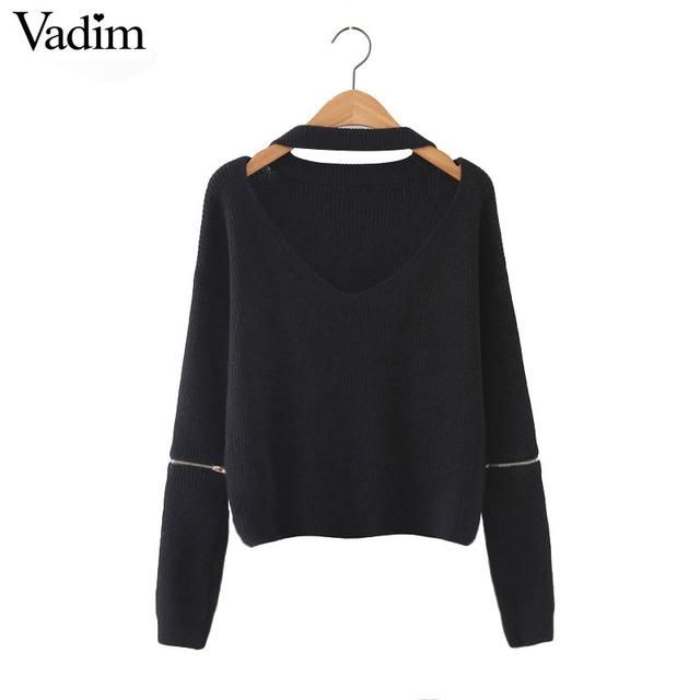 Women halter v neck knitted sweaters zipper design long sleeve 5 colors loose pullover ladies autumn streetwear warm tops SW1089