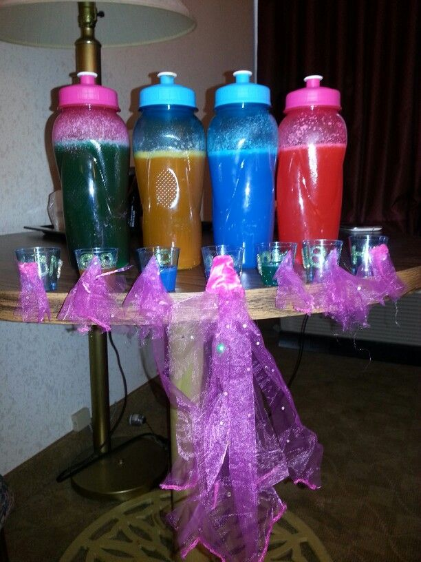 Candy vodkas and bridal shower shots each made for the bride and her maids