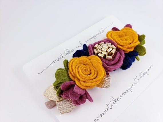 fall felt flower headband, floral headband, felt flower headband, felt flower crown, fall flower cro #feltflowerheadbands