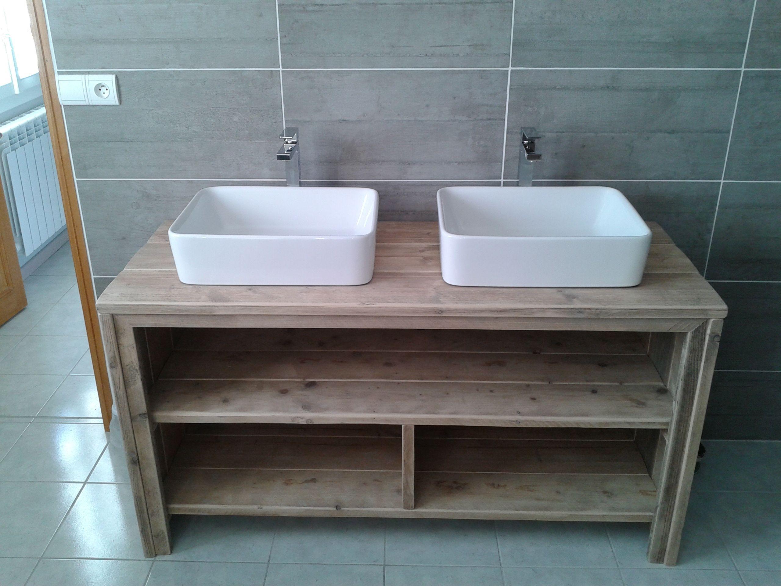 Meuble Sous Evier Ancien meuble salle de bain pays bois | meuble salle de bain