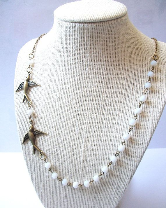 Vintage Style Two Birds Sparrow Necklace Short by ceruleanplume, $26.95