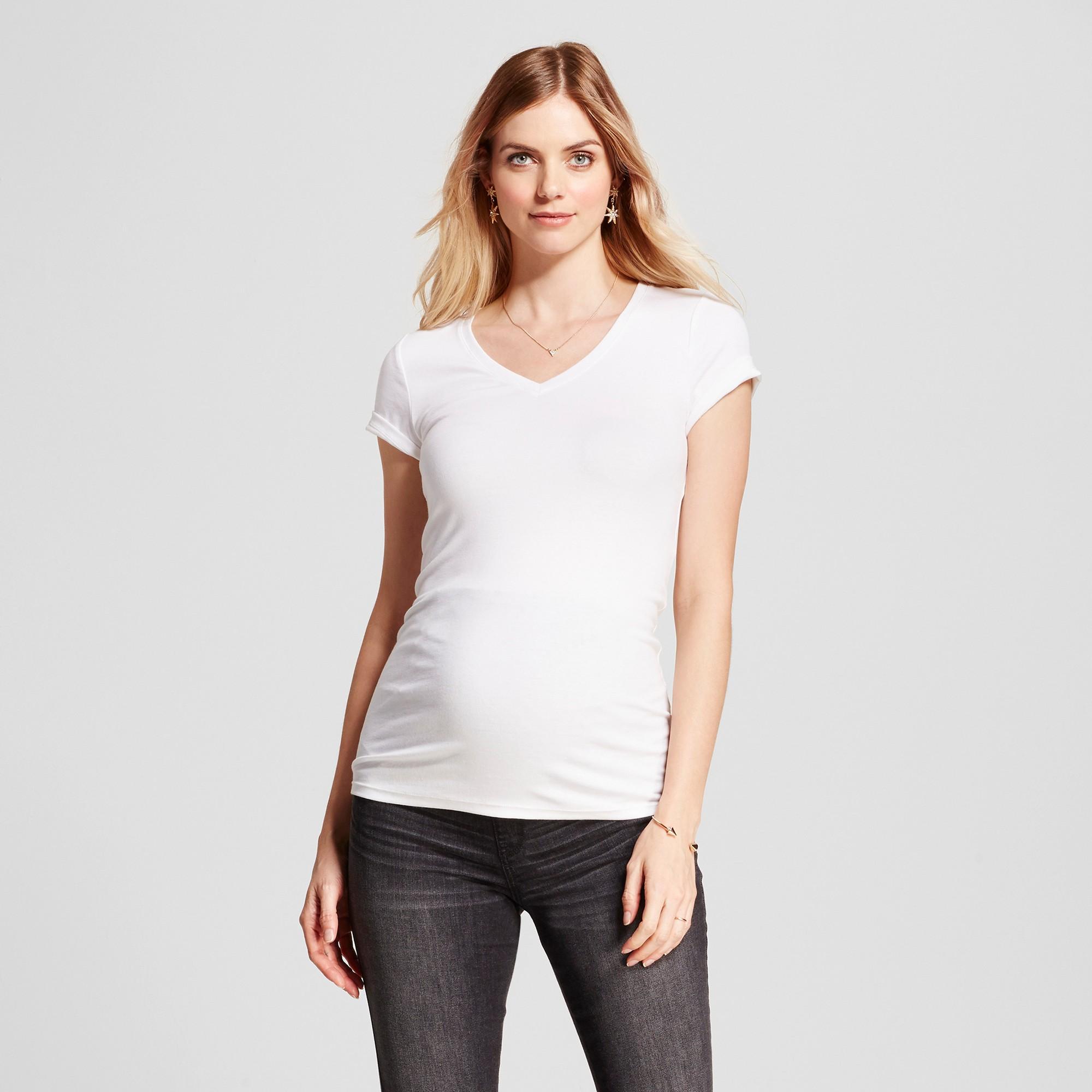05099a2f Maternity V-Neck T-Shirt - Isabel Maternity by Ingrid & Isabel White Xxl,  Women's