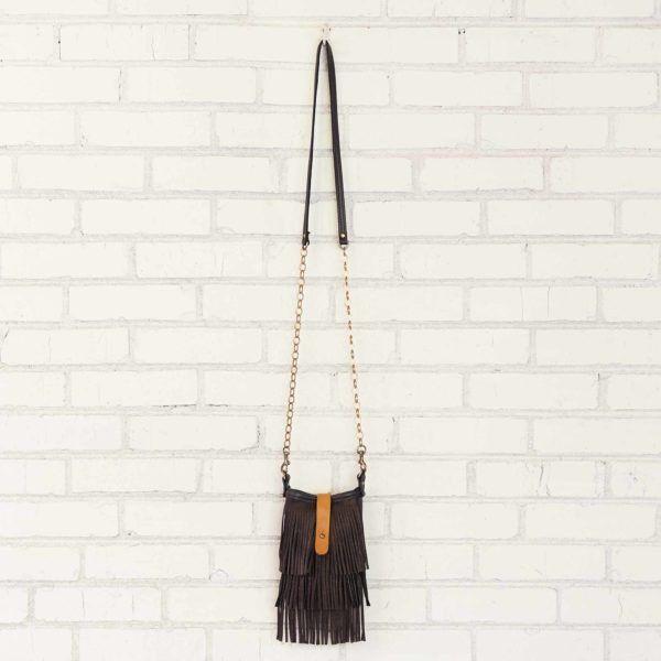 Mini Crossbody - Black Fringe - Canoe Bags