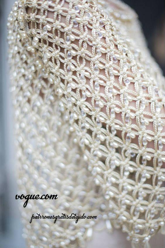 punto salomón con perlas | Muestras de tejidos a gancho y agujas ...