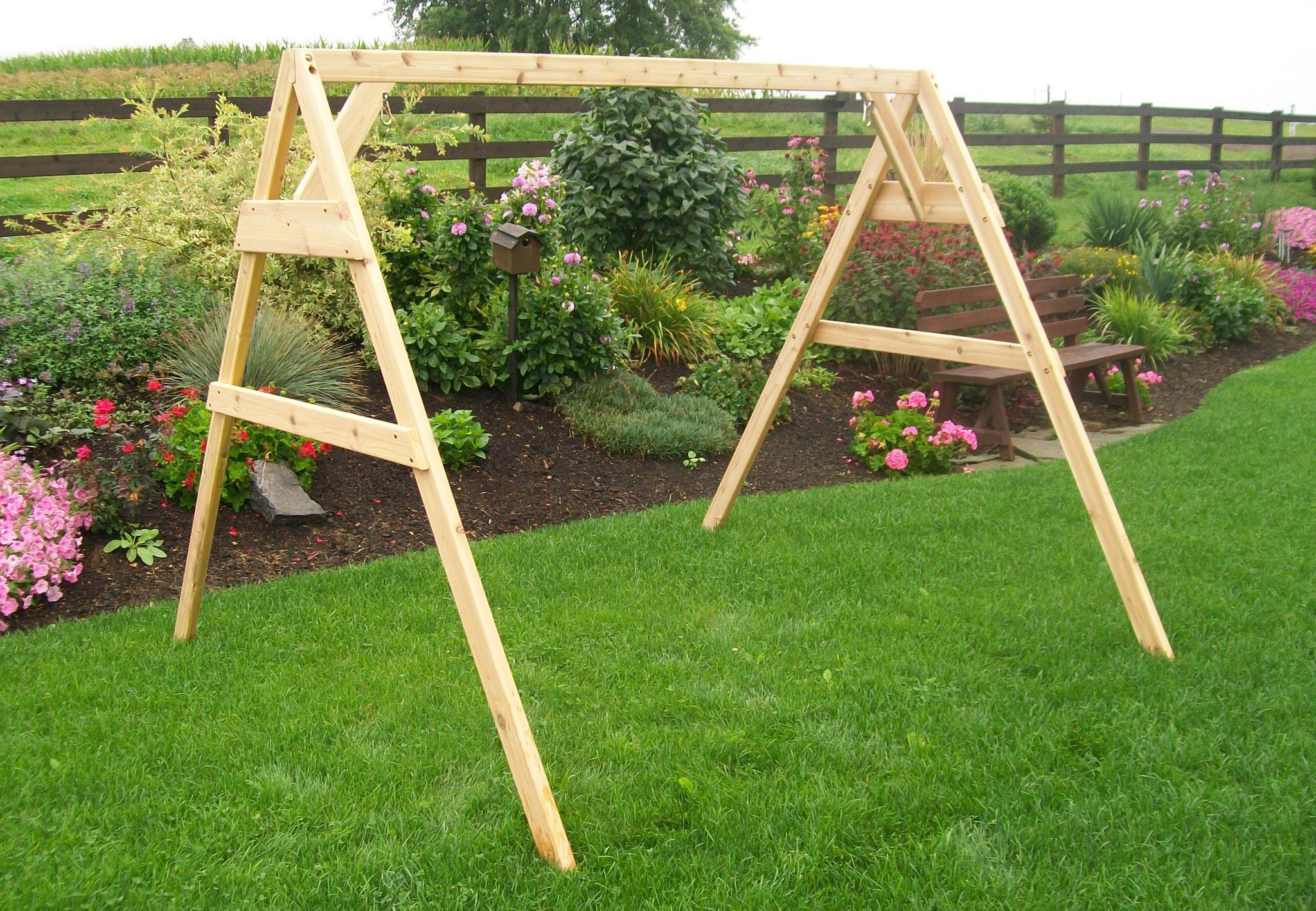 A & L FURNITURE CO. Western Red Cedar 6\' A-Frame Swing Stand for ...