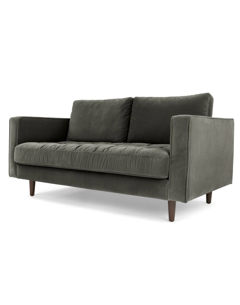 Scott, canapé 2 places, velours gris béton
