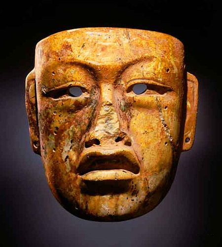 This life-size mask is one of a number recovered from Río Pesquero, near the town of Las Choapas, Veracruz, after fishermen discovered hundreds of Olmec jade and serpentine objects there, underwater, in the late 1960s.
