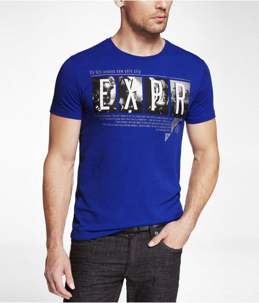 Express Mens Fitted Graphic Tee Party Prep Celestial Blue, Xxs
