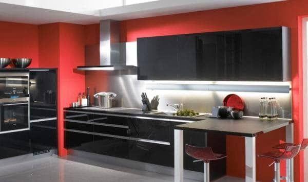 cocina roja con negro Fabulosos Colores Para Cocinas 2018 Pinterest
