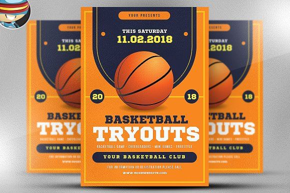 basketball tryouts flyer template by flyerheroes on creativemarket