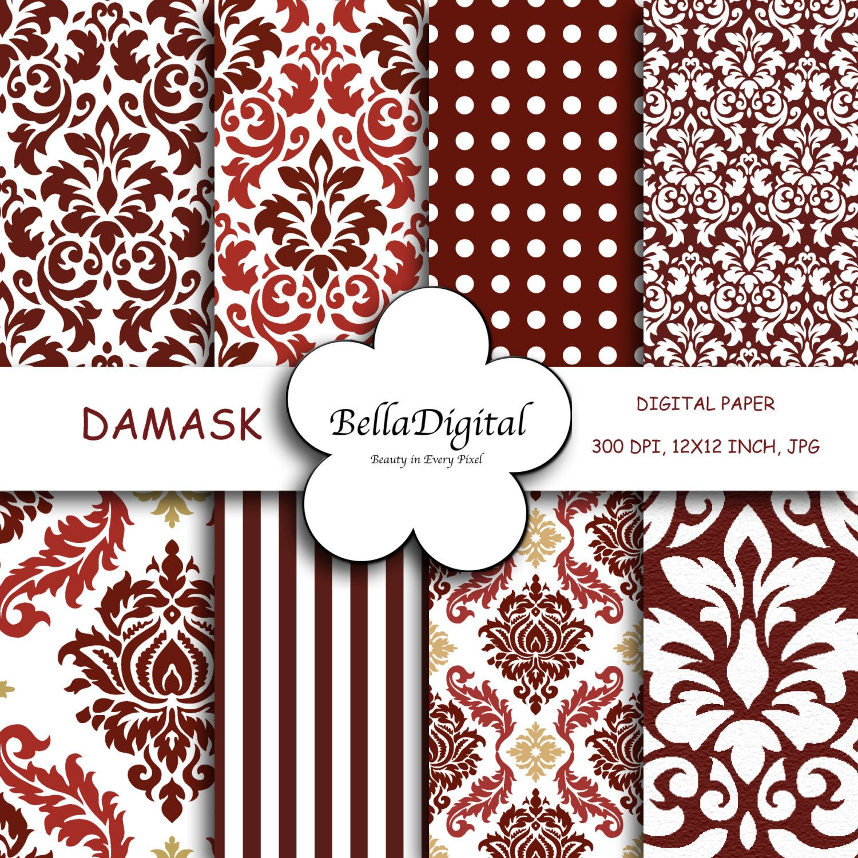 Digital paper Red Wine Gold White Jacquard Damask Frame Patterns ...