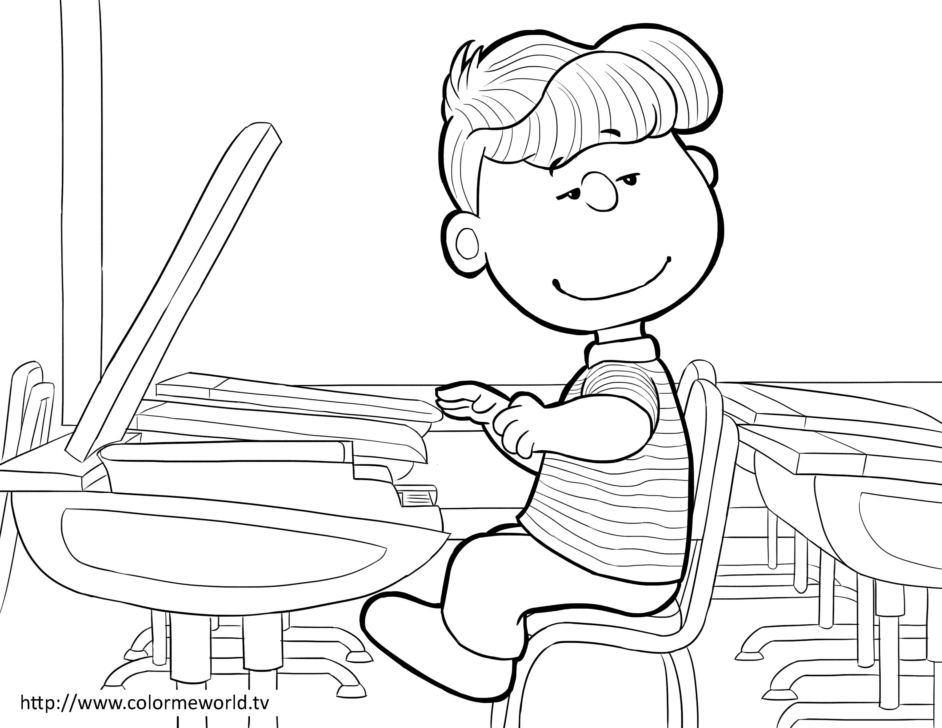 Schroeder PDF Printable Coloring Page - Peanuts | Peanuts Coloring ...