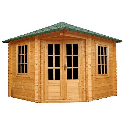 Log cabin garden office corner summer house shed workshop for Corner garden office