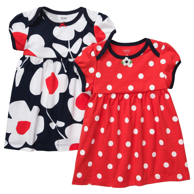 Carter s Girls 2 Pack Dress Set Red Navy 3pc Flowers & Dots $17 99