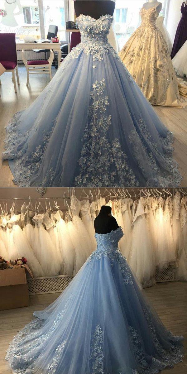 Elegant Lace Appliques Light Blue Tulle Ball Gowns Quinceanera Dresses - alinovafashion #tulleballgown