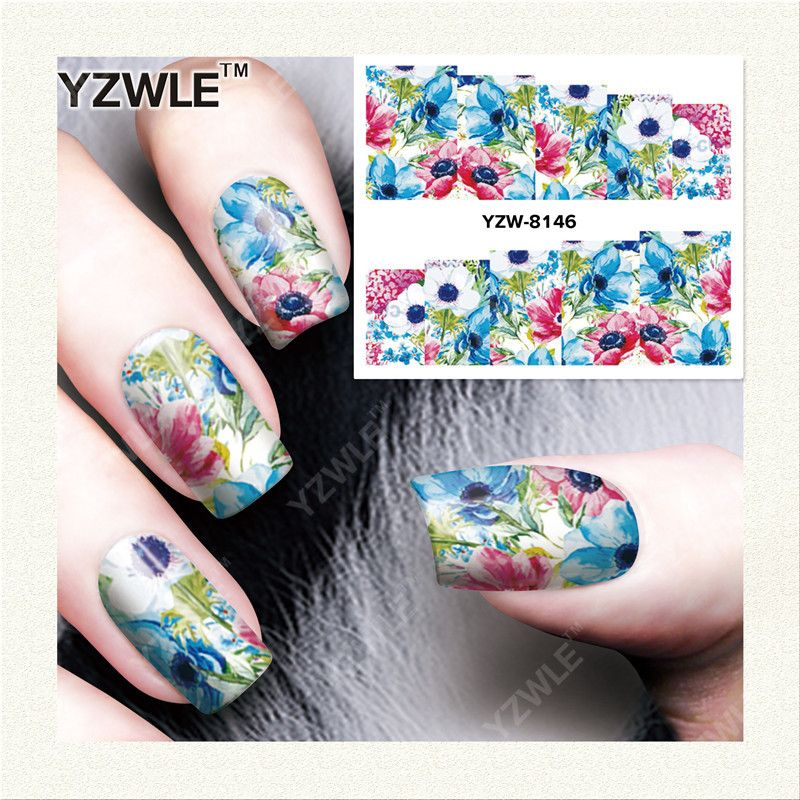 YZWLE 1 Sheet DIY Decals Nails Art Water Transfer Printing Stickers