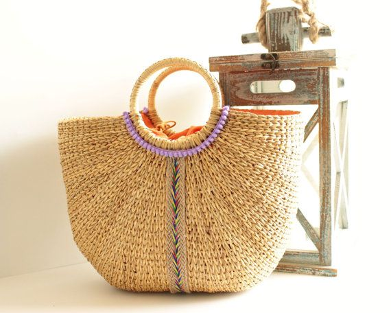 Straw Beach Bag, Farmer's Market Tote, Summer Bag, Hard Straw Tote ...