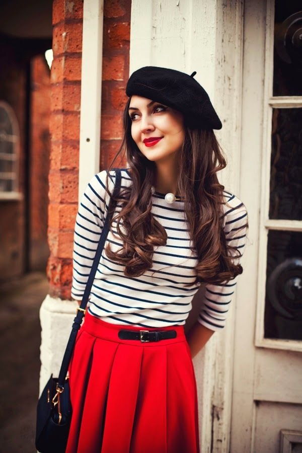 Image result for french girl style striped shirt beret