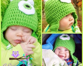 d7efda1a8aa82 Disney s Monsters Inc. Mike Wazowski Crochet Beanie Hat with earflaps for  Newborn-adult Size