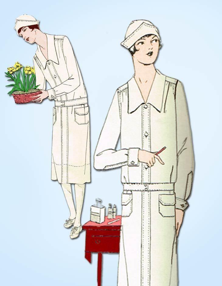 1920s Vintage Butterick Sewing Pattern 6277 Misses Nurses Uniform ...