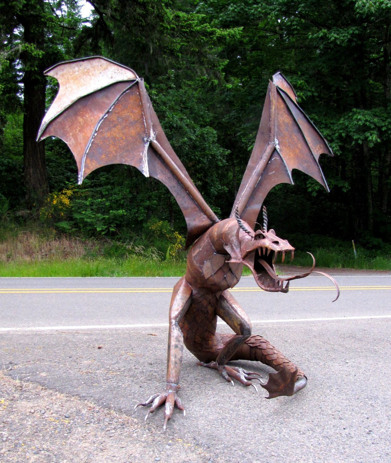 Award winning dragon sculpture from recycled by