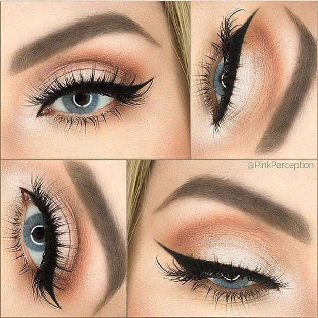Soft, Peach Eye Makeup look for Brides with Blue Eyes #weddingmakeup ...