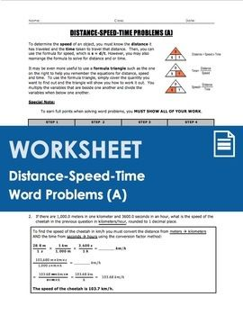 Worksheet Distance Speed Time Word Problems Part 1 With
