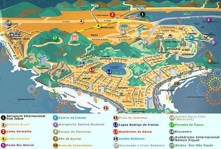 nice Rio de Janeiro Map Tourist Attractions Travelquaz Pinterest