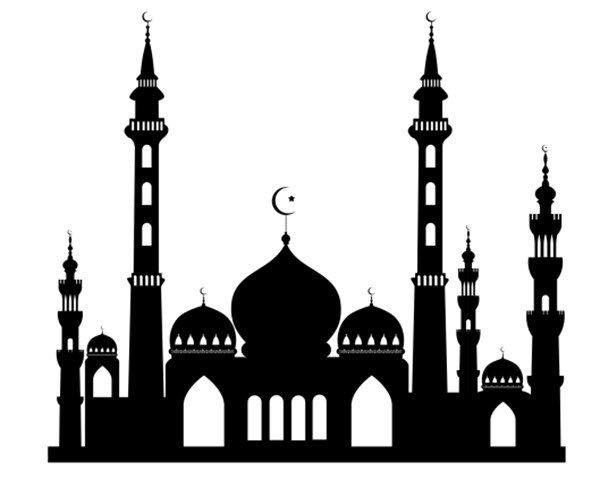 Eid Mubarak Kleurplaat Freebie Mosque Silhouette Cakes Pinterest Art