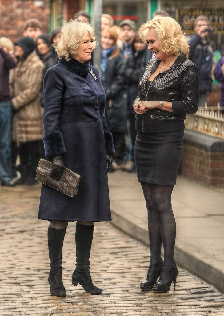 Camilla meets Beverley Callard at Coronation Street.