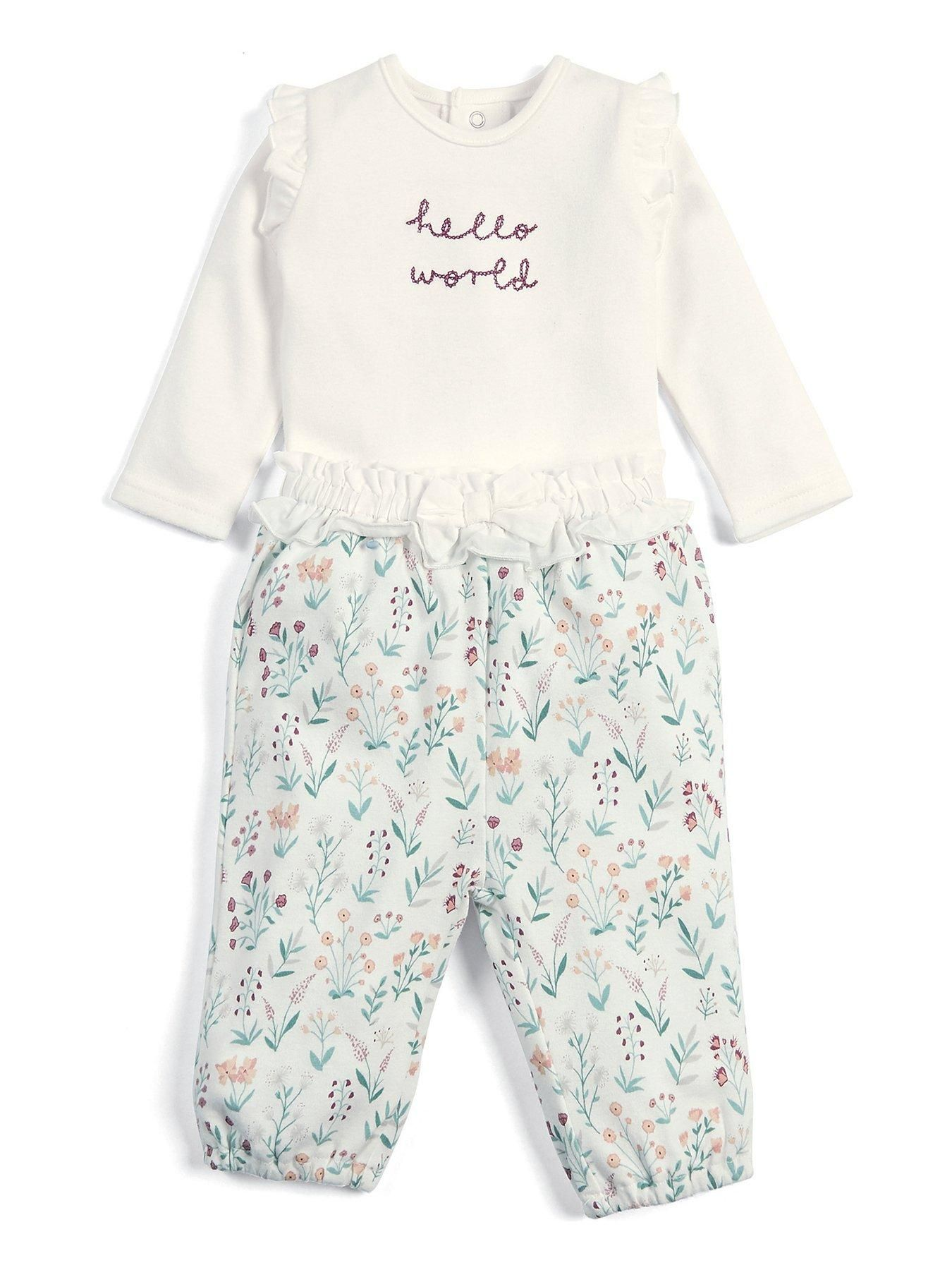 Mamas /& Papas Baby Girls Textured All-in-one with Bib Romper