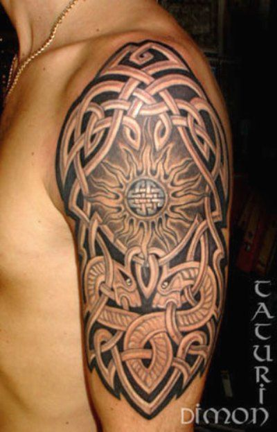 Half Celtic Sleeve Mens Tattoo With Dotwork Design Celtic Sleeve Tattoos Celtic Tattoos Celtic Tattoos For Men