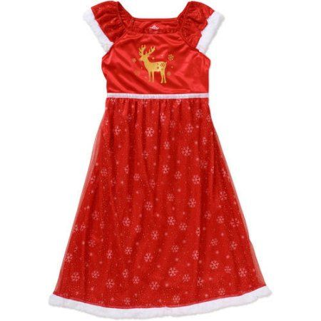 Girls' Reindeer Xmas Dressy Gown, Size: 6/6X, Red