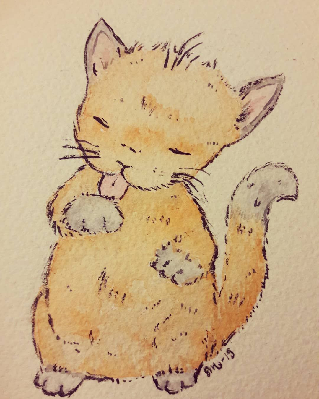 Kitty Still A Lot To Learn About Ink Usage But Slowly Getting Somewhere Ink Watercolor Ink Indiaink Kitty Cat Kitten Watercolor India Ink Cats Kitten