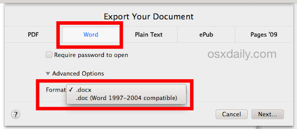 Export Pages Files As Word Formats Saved Pages Words Format