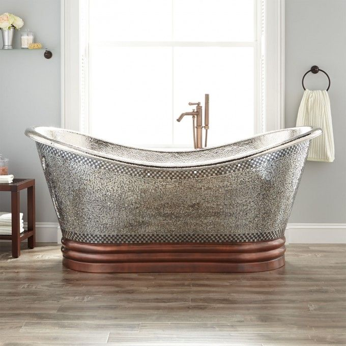 "72"" Isabella Hammered Copper Double Slipper Clawfoot Tub Nickel"