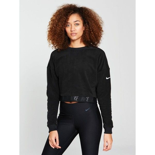 Nike Training Therma Crew Polar Sweater (€43) ❤ liked on Polyvore featuring tops, sweaters, sleeve top, black white top, black and white sweaters, crew top and boxy tops