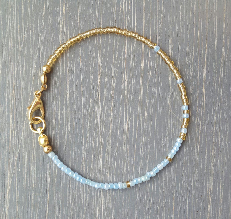 Pastel Blue Gold Seed Bead Bracelet Ombré Friendship