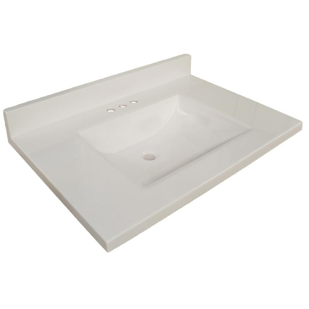 Design House 37 In W Wave Cultured Marble Vanity Top In Solid White With White Basin 563429 Cultured Marble Vanity Top Marble Vanity Tops Vanity Top