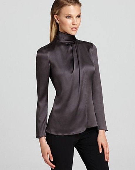 Armani  Turtleneck Blouse in Gray (graphite) - Lyst