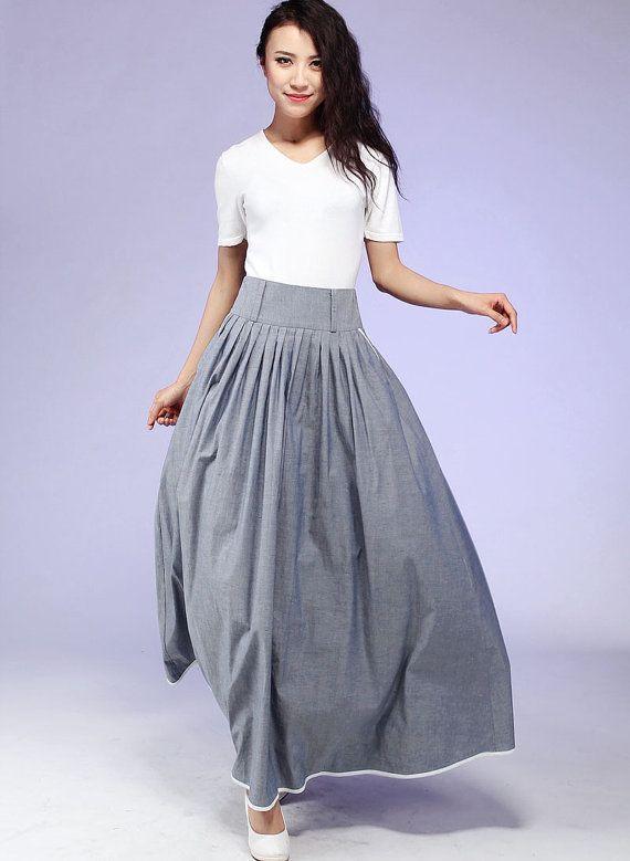 67dd0f760 Falda gris de Maxi falda larga de algodón con Piping de   faldas ...