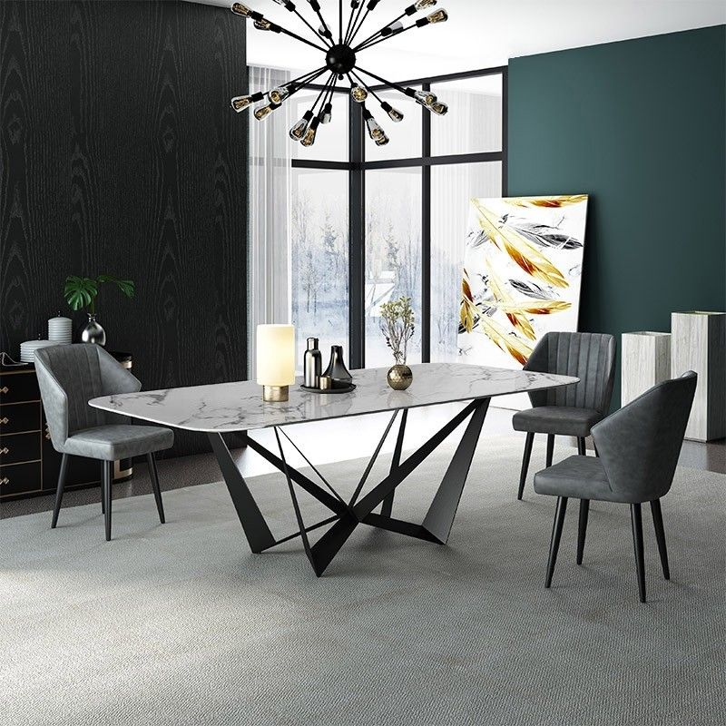 Modern Stylish Rectangle White Faux Marble Top Dining Table With Black Metal Base In Small Medium Large Marble Top Dining Table Dining Table Marble Metal Dining Chairs