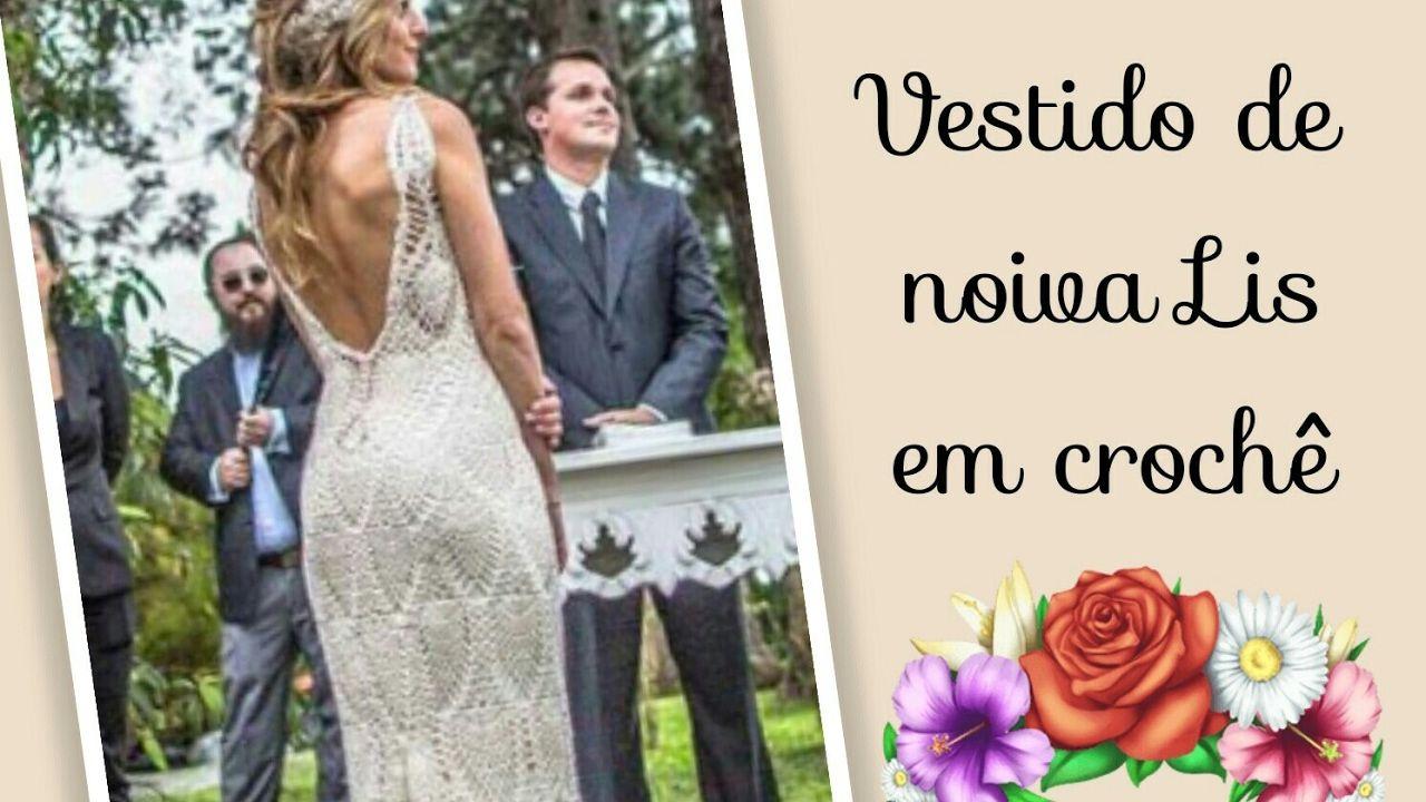 Versão destros: Vestido de noiva Lis em crochê tam M ( 1° parte ) # Elis...