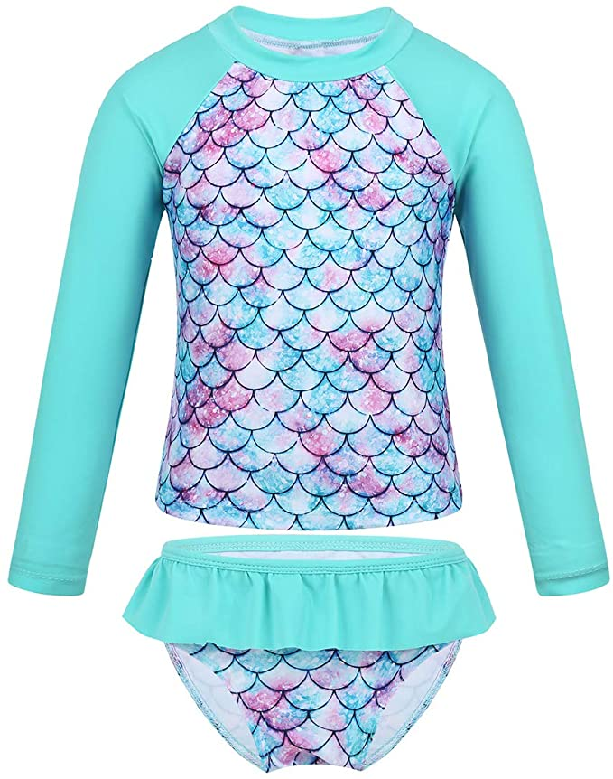 Agoky Baby Girls One Piece Flower Patterned Long Sleeves Swimming Costume Swimsuit Rash Guard